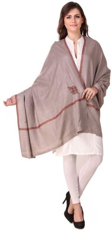 Kashmiri Queen Wool, Cashmere Embroidered Women's Shawl(Brown)