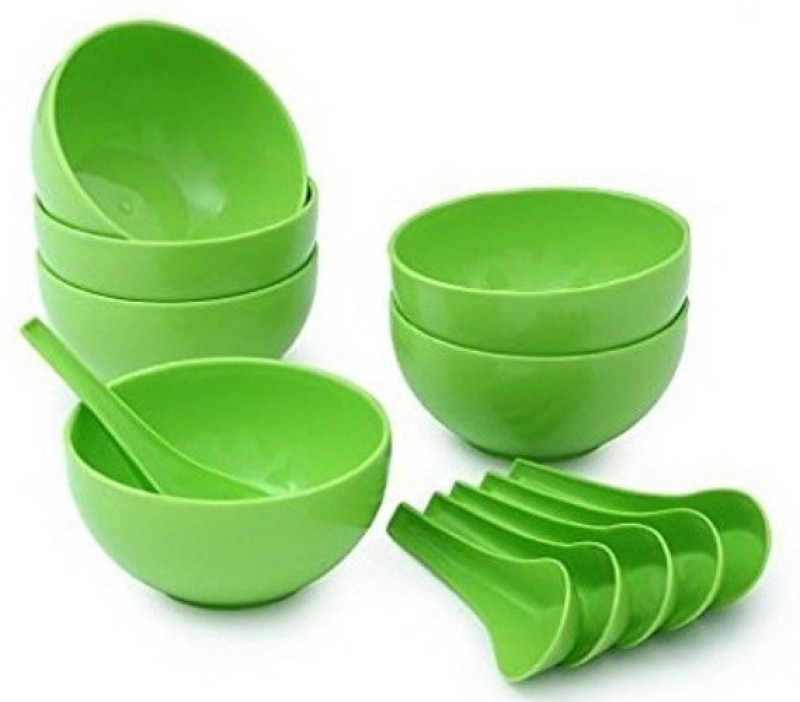 Snowpearl Round Big Soup Bowl with Spoon Plastic Soup Bowl(Green, Pack of 12)