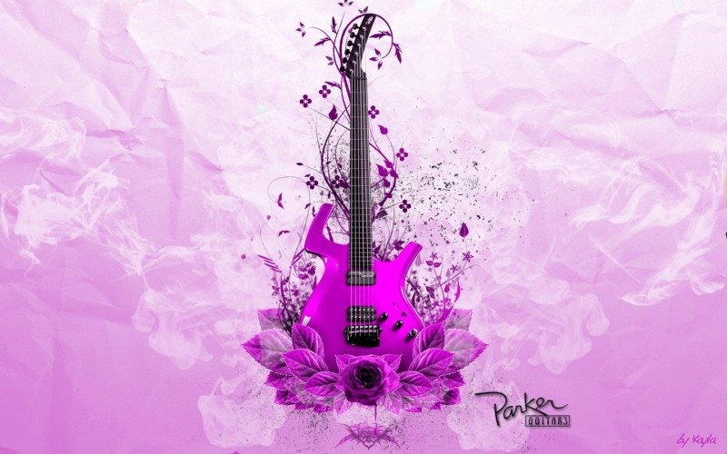 Music Guitar Purple HD Wallpaper Background Fine Art Print(12 inch X 18 inch, Rolled)