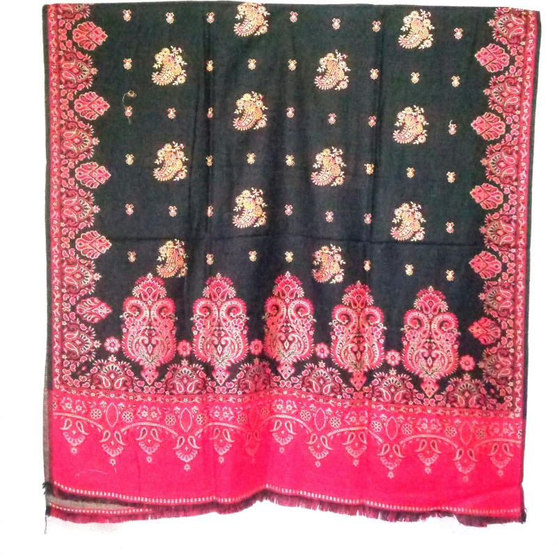 Kashmiri Queen Wool, Cashmere Embroidered Women's Shawl(Black)