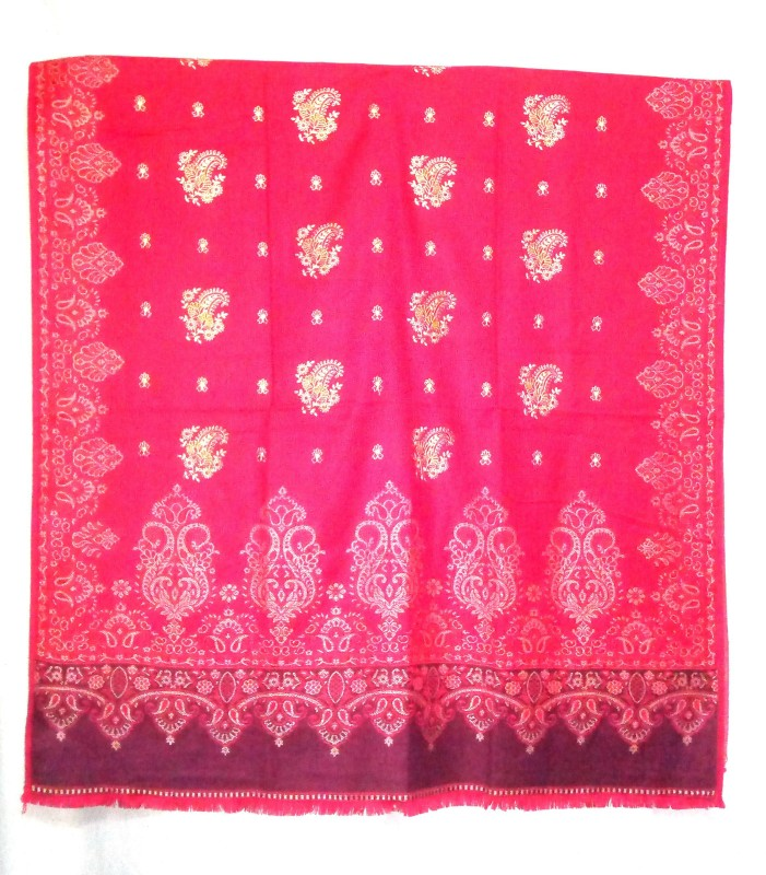 Kashmiri Queen Wool, Cashmere Embroidered Women's Shawl(Red)