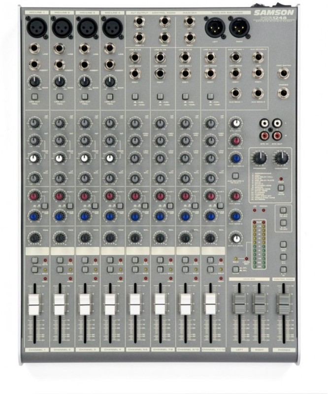 Samson 1248 12 Channel, 4 Mic/Line Mixer with DSP Digital Sound Mixer