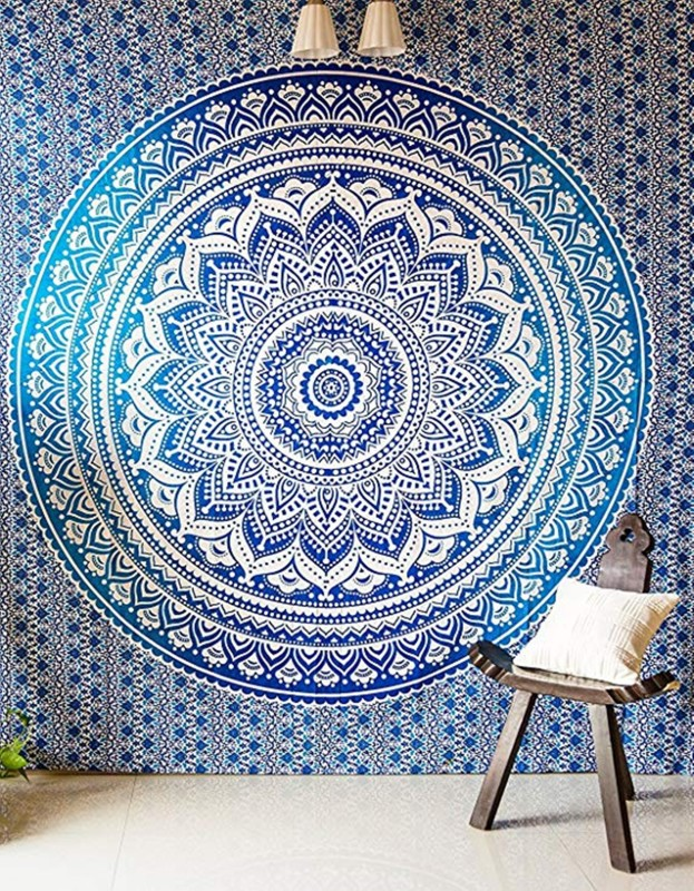 Tiger Exports cotton Mandala Wall Tapestry Hanging Throw Bohemian Cotton - Queen Living Room Cotton Mandala Tapestry(Blue, White)