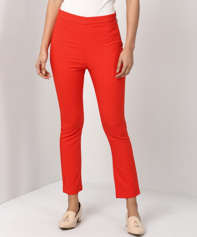 TRENDYOL Relaxed Women Orange Trousers