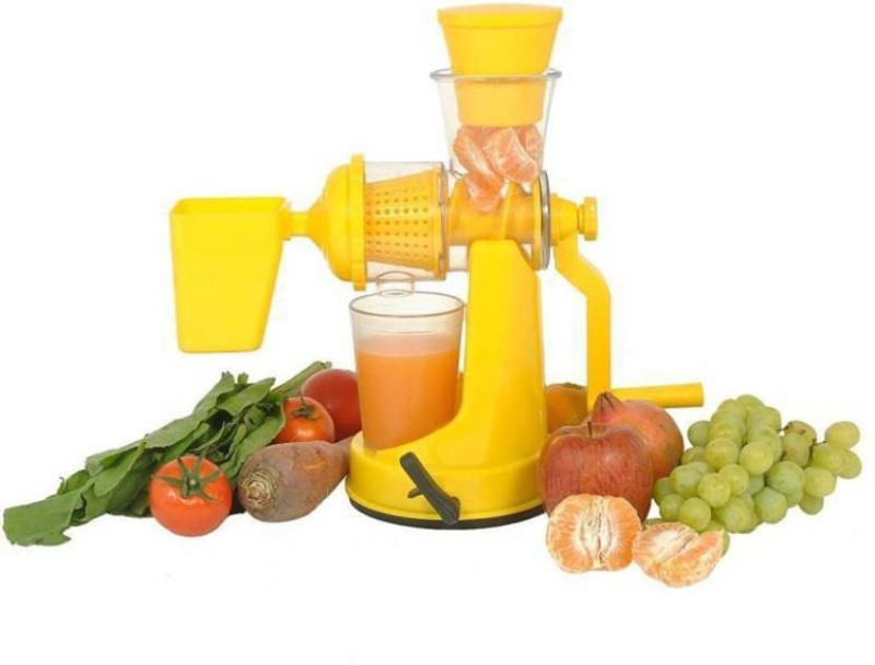 Floraware Yellow Coloured with Waste Collector Fruit & Vegetable Plastic Hand Juicer(Yellow)