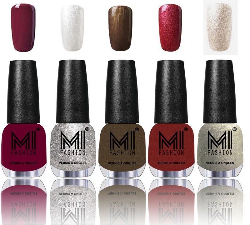 MI Fashion Bold and Beautiful Combo of 5 Extra Shine Power Lasting Nail Polish Deep Red ,Shimmery Silver ,Metallic Coffee ,Lava Lust ,Ginger Rust(Pack of 5)