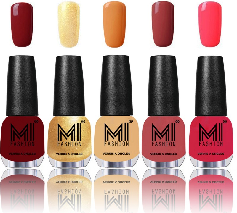 MI Fashion Bold and Beautiful Combo of 5 Extra Shine Power Lasting Nail Polish Mighty Maroon,Glazing Golden,Flirty nude,Rustic TAN,Carrot Red(Pack of 5)