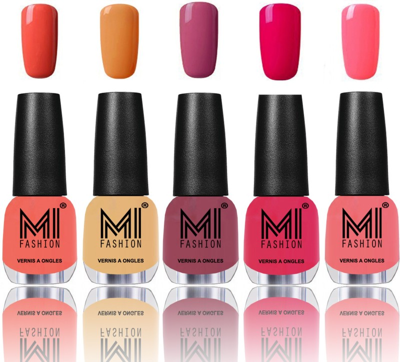 MI Fashion Bold and Beautiful Combo of 5 Extra Shine Power Lasting Nail Polish Peach,Flirty nude,Mauve brown,Moon magenta,Pink mania(Pack of 5)