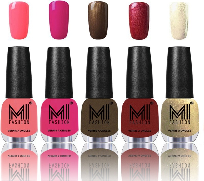 MI Fashion Bold and Beautiful Combo of 5 Extra Shine Power Lasting Nail Polish Pink mania,Passion pink,Metallic Coffee,Lava Lust,Creamy Golden(Pack of 5)