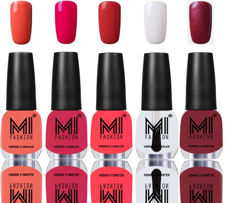 MI Fashion Bold and Beautiful Combo of 5 Extra Shine Power Lasting Nail Polish Peach,Moon magenta,Coral compass,Crystal Clear,Metallic Red-Gold(Pack of 5)