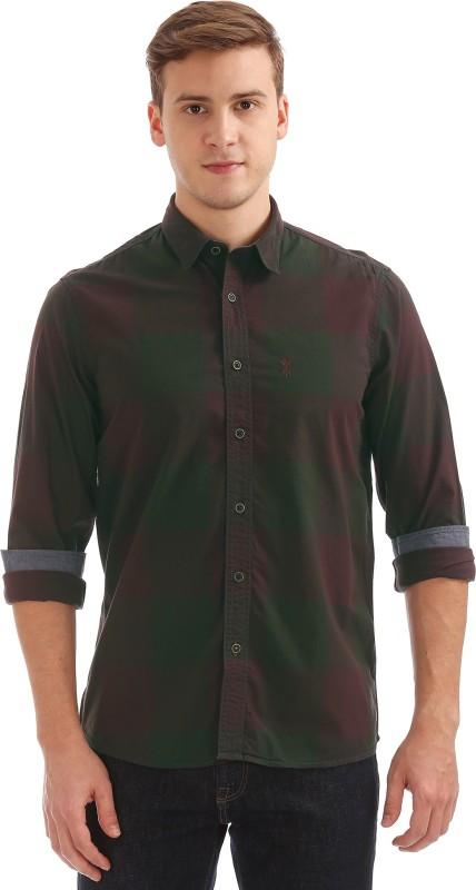Arrow Blue Jean Company Men Checkered Casual Green Shirt