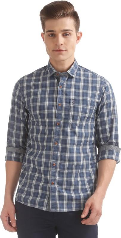 Arrow Blue Jean Company Men Checkered Casual Blue Shirt