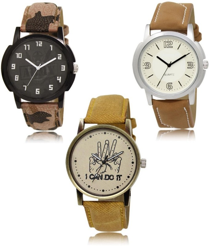 stylelime LR-03-16-30 Hot Selling Premium Quality Collection Latest Set of 3 Stylish Attractive Professional Designer Combo Analog Watch  - For Men