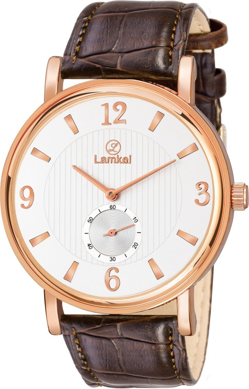 LAMKEI LMK-0142 Premium Imported Analogue Display Working Chronograph inner Dial which shows Seconds White Dial Brown Genuine Leather Strap Analog Watch - For Men
