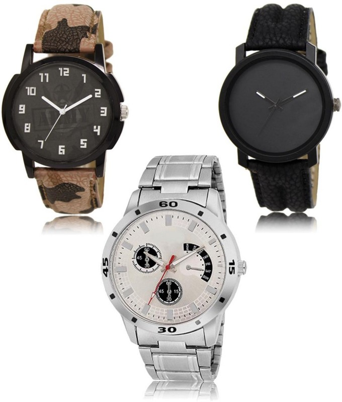 stylelime LR-03-21-101 Hot Selling Premium Quality Collection Latest Set of 3 Stylish Attractive Professional Designer Combo Analog Watch  - For Men