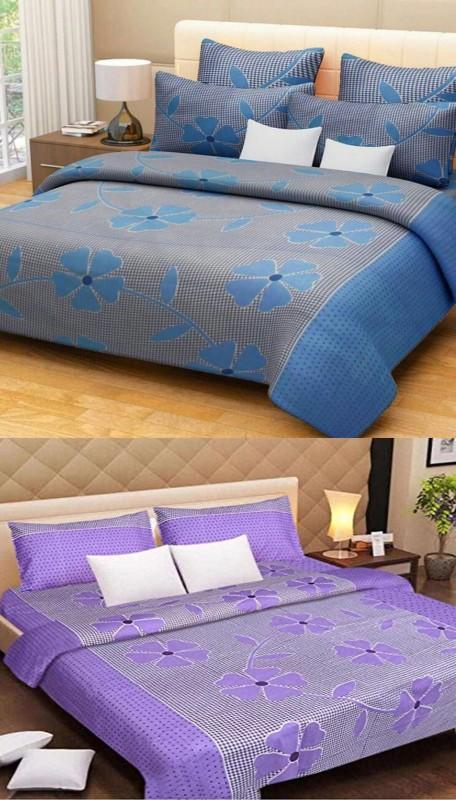 HOTDEALZZ 120 TC Cotton Double Printed Bedsheet(Pack of 6, Purple, Blue)