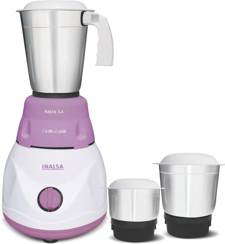 Inalsa Astra LX 600 W Mixer Grinder(White & Purple, 3 Jars)