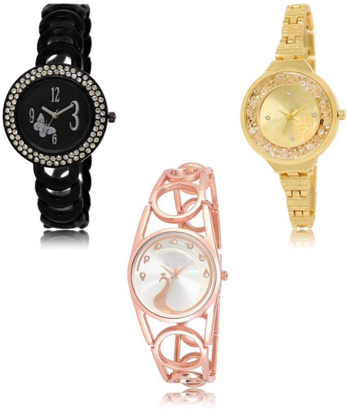 Red Robin LR-201-224-232 Premium Quality Collection Latest Set of 3 Stylish Attractive Professional Designer Combo Analog Watch  - For Women