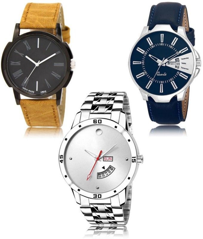 Cloudcool CC-19-23-103 Hot Selling Premium Quality Collection Latest Set of 3 Stylish Attractive Professional Designer Combo Analog Watch  - For Men