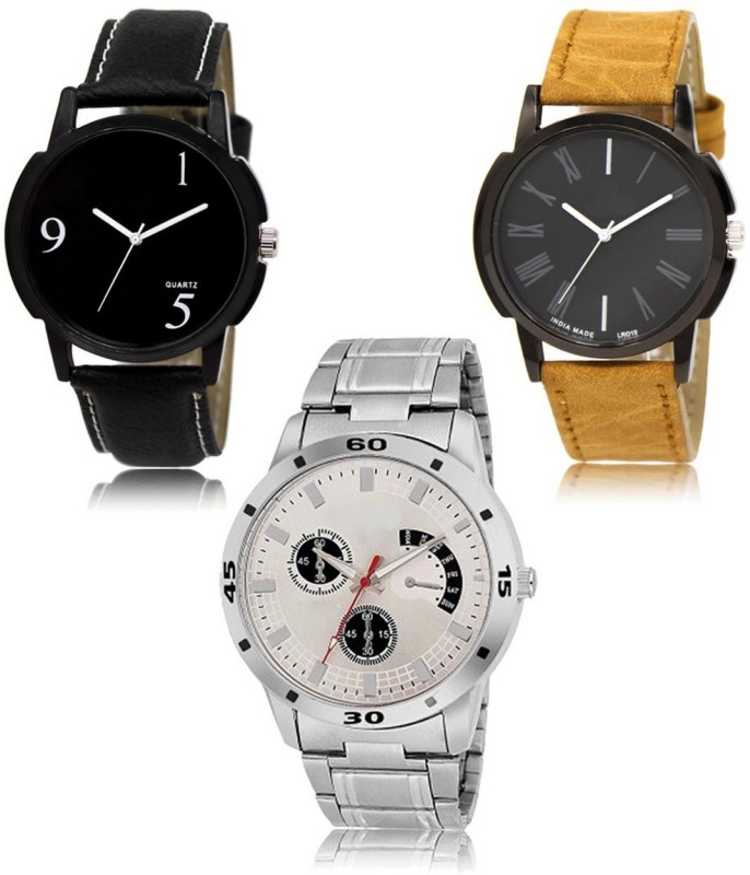 Snapcrowd LR-06-19-101 Hot Selling Premium Quality Collection Latest Set of 3 Stylish Attractive Professional Designer Combo Analog Watch  - For Men