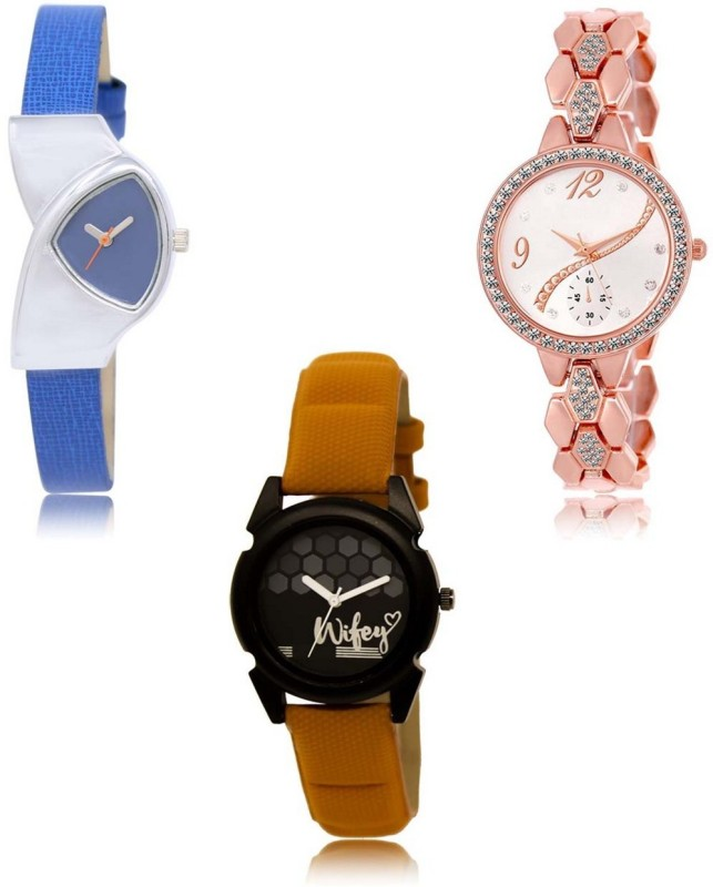 Sky Mart LR-208-215-235 Premium Quality Collection Latest Set of 3 Stylish Attractive Professional Designer Combo Analog Watch  - For Women