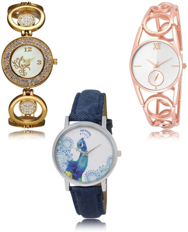 HK LR-204-213-241 Premium Quality Collection Latest Set of 3 Stylish Attractive Professional Designer Combo Analog Watch  - For Women
