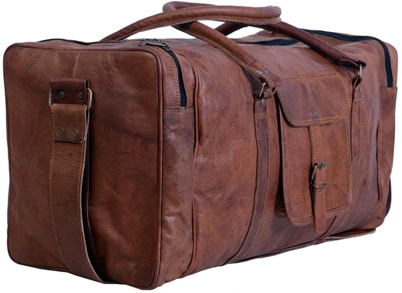 MUNDO ELEGANTE (Expandable) Leather 24 Inch Square Duffel Trave Gym Bag(Brown)