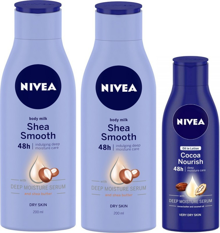 Nivea Smooth Milk 200 ml & Cocoa Nourish Body lotion 120 ml Combo(520 ml)