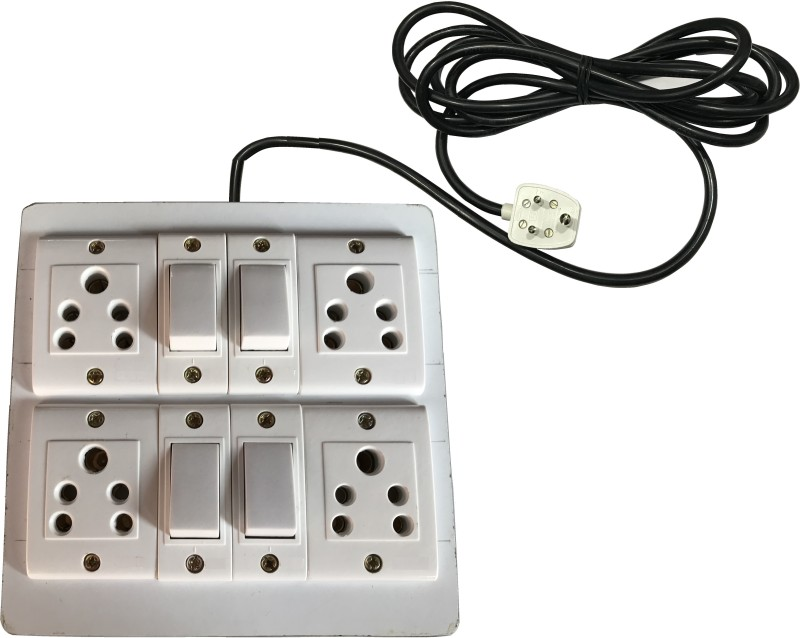 Tinax Eletecric Wooden Extension Board (4 Socket,4 Switch)5 A 3 Meter Wires 4 Socket Surge Protector(White)
