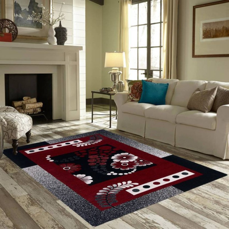 Kamboj Handloom Maroon, Black Chenille Carpet(145 cm X 210 cm)