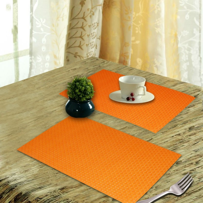 LooMantha Rectangular Pack of 6 Table Placemat(Orange, PVC (Polyvinyl Chloride))