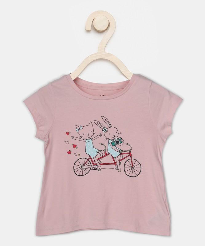 GAP Girls Printed Cotton Blend T Shirt(Pink, Pack of 1)