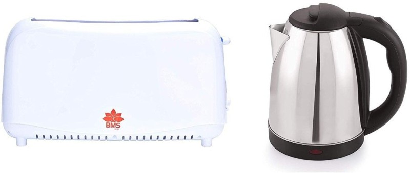 BMS Lifestyle Kitchen Combo of Bread Two Slice Toasters and Fast Boiling Tea Kettle Cordless. 750 W Pop Up Toaster(White, Silver)
