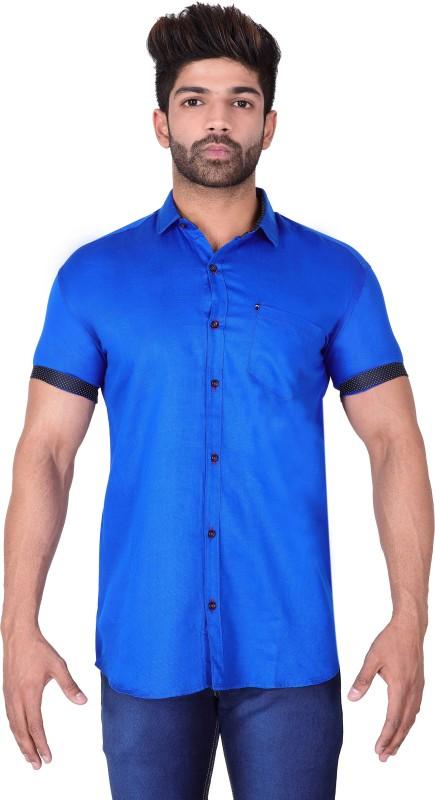Villain Men Solid Casual Blue Shirt