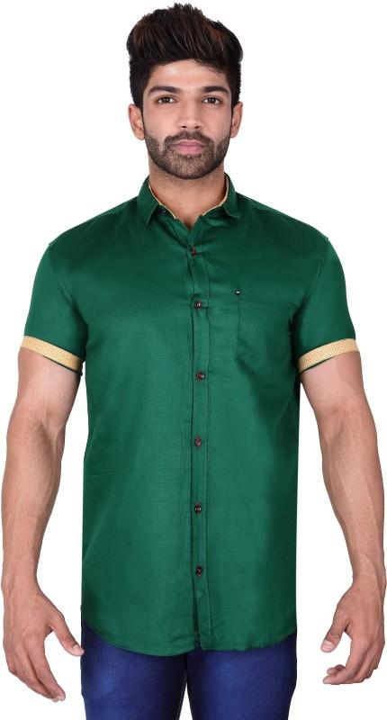 Villain Men Solid Casual Dark Green Shirt