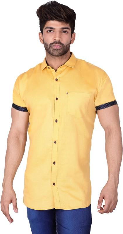 Villain Men Solid Casual Beige Shirt