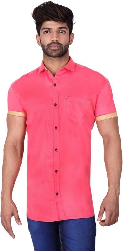 Villain Men Solid Casual Pink Shirt