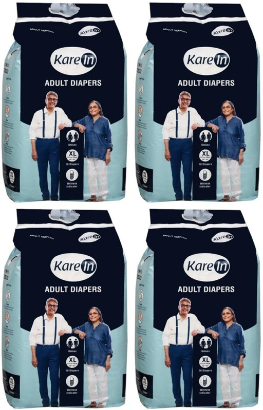 """Karein Adult Diapers, Size XL, 10 Pcs Pack, Combo of 4 Packs, for Waist Size 50""""-65"""" INCHES,Total 40 Diapers Adult Diapers - XL(40 Pieces)"""