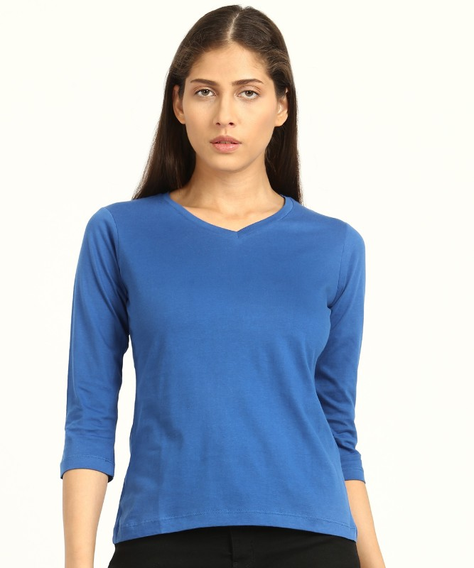 Style Quotient Solid Women's V-neck Blue T-Shirt