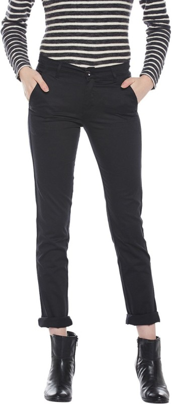Devis Slim Fit Women's Black Trousers
