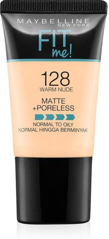 Maybelline Fit Me Matte+Poreless Liquid Foundation Tube, 128 (WARM NUDE) Foundation(WARM NUDE, 18 ml)