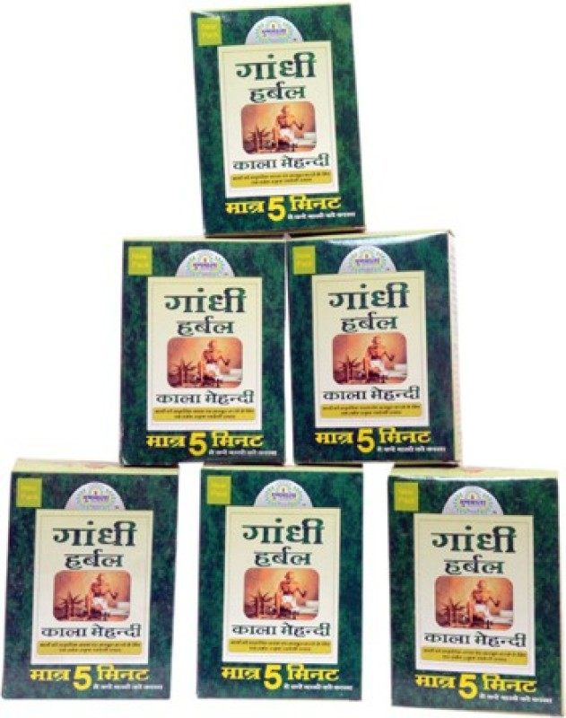 gunmala Gandhi Herbal Kala Mehandi 6 Pack Combo Natural Mehendi(Pack of 6)