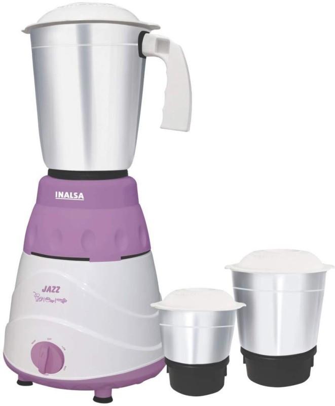 Inalsa Jazz 550 Mixer Grinder(Purple, White, 3 Jars)
