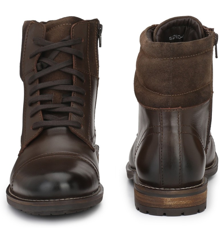 Delize Genuine Leather High Ankle Boots For Men(Brown)