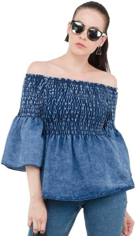 clothvilla Casual Bell Sleeve Washed Women Blue Top