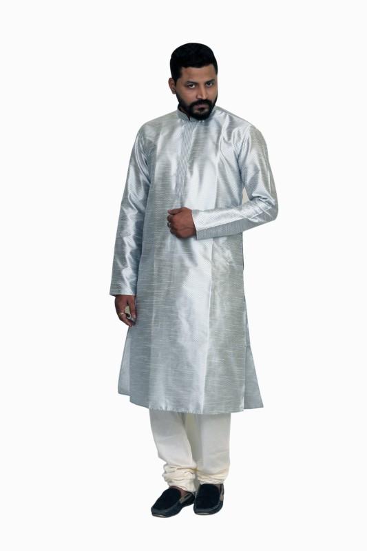Sreemant Men Self Design Straight Kurta(Silver)