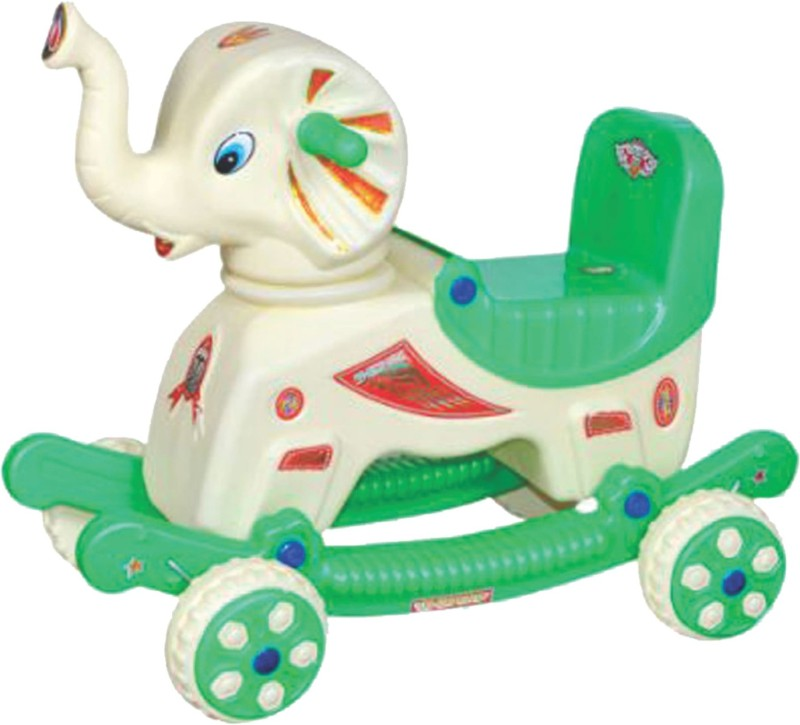 Pihu Enterprises Musical Baby Elephant Rider Green & Cream(Multicolor)
