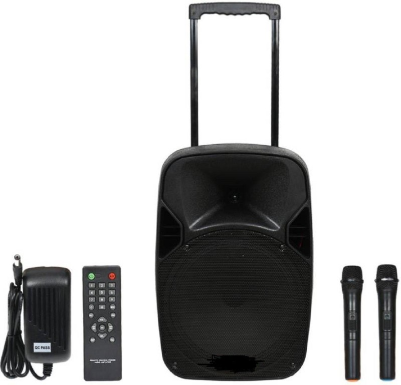 """QUALIMATE Bluetooth PA System Portable Rechargeable trolley Speaker with 2 Wireless Microphone, Remote Control, FM Radio, AUX/TF/USB, Trolley Design 12"""" Outdoor PA System 60 W Bluetooth Home Theatre(Black, Stereo Channel)"""
