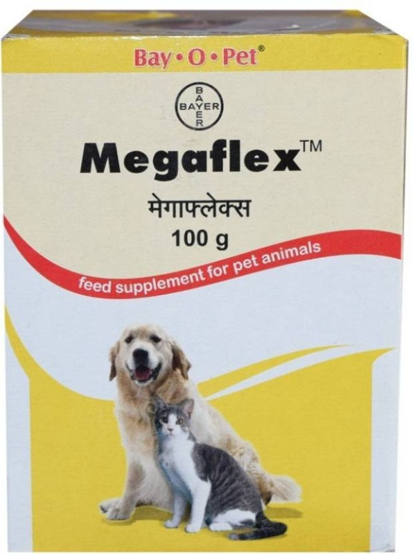 Bayer Bay. O. Pet Megaflex feed supplement 100 gm of pet for hip and joint care , strength joints , Maintains Cartilage, Tendons And Ligaments , vitamins , calcium , energy, minerals , nutritional , high energy supplement for dog and cat Pet Health Supple