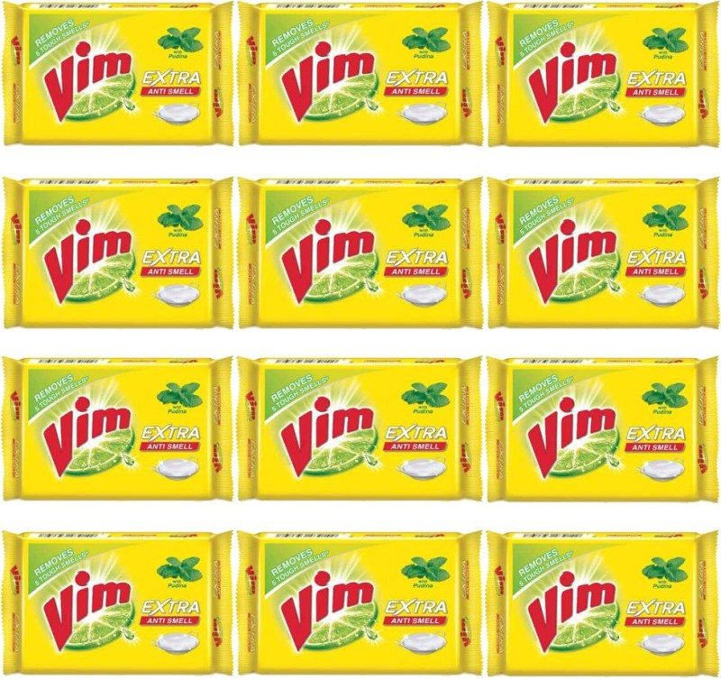 VIM EXTRA ANTI SMELL BAR (pack of 12) Dishwash Bar(3000 g, Pack of 12)